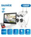 SANNCE Sistema di telecamere di sicurezza wireless 4CH 1080p, NVR All-in-One con monitor da 10,1 ', 4 telecamere IP di sorveglianza impermeabili da 2 MP