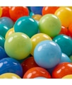 KIDDYMOON 300 ? 7CM Palline Morbide Colorate Per Piscina Bambini Fatto In EU, Verde Ch/Arancione/Turchese/Blu/Azzurro/Giallo - verde