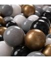 KiddyMoon 50 ? 7CM Palline Morbide Colorate Per Piscina Bambini Fatto In EU, Bianco/Grigio/Nero/Oro - bianco/grigio/nero/oro