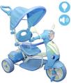 LGV - Triciclo Vespina Bimbo Bambini con Cappottina e Maniglia Direzionabile Celeste